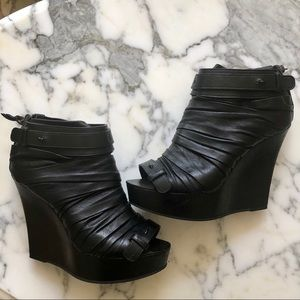 Givenchy Black Leather Peeptoe Wedge Boots